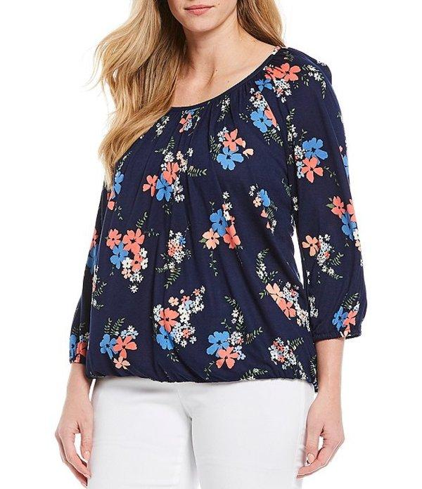 マイケルコース レディース Tシャツ トップス MICHAEL Michael Kors Plus Size Blooming Bouquet Print Knit Jersey Scoop Neck Peasant Top Coral Peach