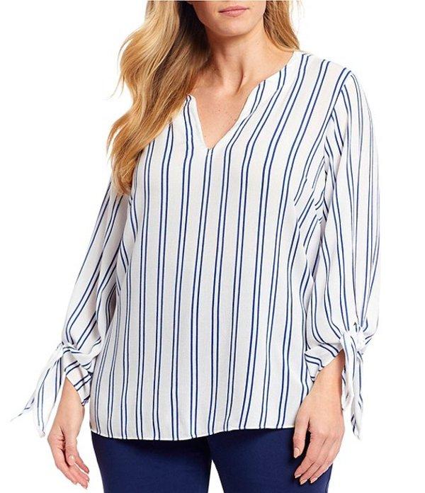 マイケルコース レディース シャツ トップス MICHAEL Michael Kors Plus Size Double Stripe Print Woven Crinkle V-Neck 3/4 Tie Sleeve Top Twilight Blue