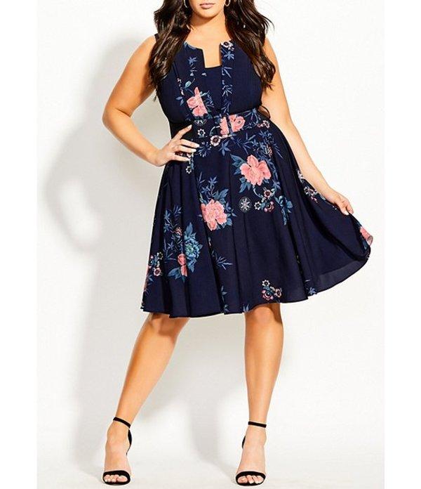 シティーシック レディース ワンピース トップス Plus Size Aika Floral Print Belted Sleeveless Dress Navy/Floral Print
