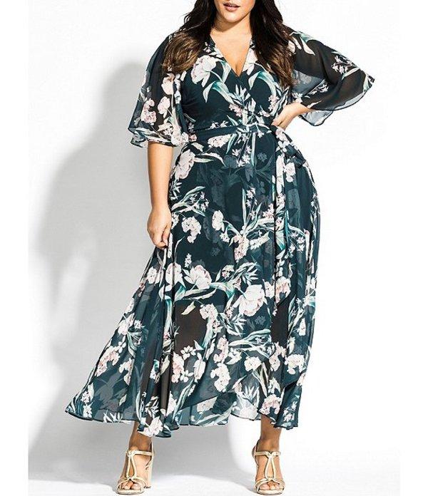 シティーシック レディース ワンピース トップス Plus Size Floral Print V-Neck Ruffle Sleeve Self Tie Maxi Wrap Dress Green Floral Print