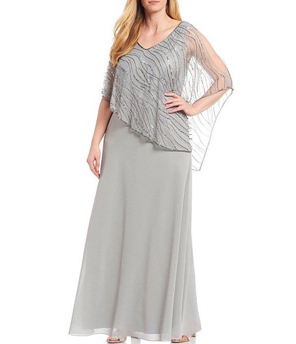 ジェーカラ レディース ワンピース トップス JKara Plus Size V-Neck Short Sleeve Beaded Bodice Asymmetric Popover Chiffon Gown Silver/Mercury