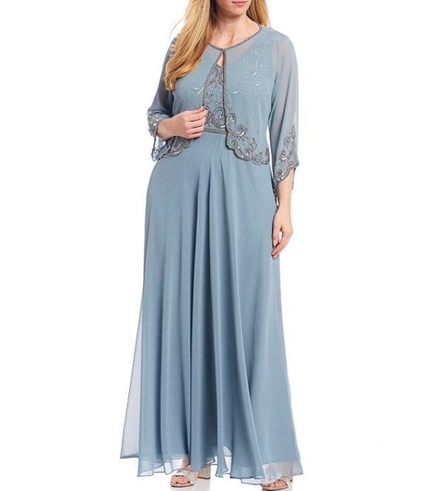 ジェーカラ レディース ワンピース トップス Plus Size Beaded Bodice 2-Piece Chiffon Jacket Dress Sky Blue/Silver