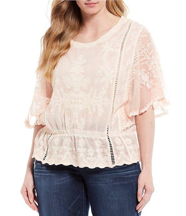 デモクラシー レディース シャツ トップス Plus Size Butterfly Sleeve Peplum Crochet Top Coral