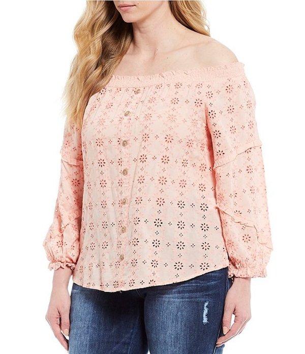 デモクラシー レディース シャツ トップス Plus Size Off-The-Shoulder Blouson Sleeve Eyelet Top Coral Pink