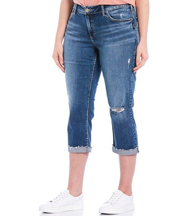 シルバー ジーンズ レディース デニムパンツ ボトムス Plus Size Elyse Curvy Fit Raw Hem Capri Jeans Indigo