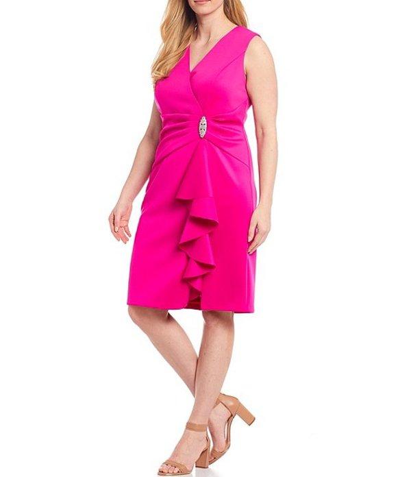 ジェシカハワード レディース ワンピース トップス Plus Size V-Neck Sleeveless Ruffle Scuba Sheath Dress Hot Pink