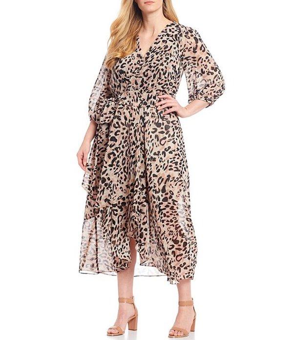 エリザジェイ レディース ワンピース トップス Plus Size Animal Print Hi-Low 3/4 Sleeve Midi Wrap Dress Animal