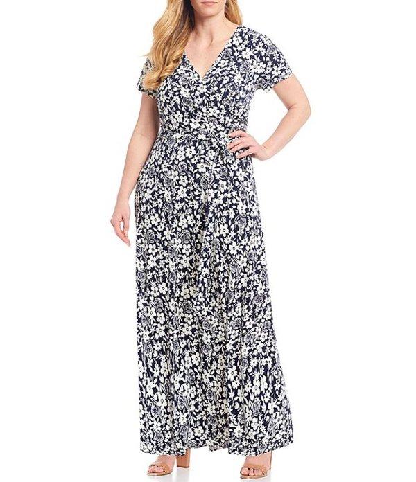 エリザジェイ レディース ワンピース トップス Plus Size V-Neck Short Sleeve Floral Print Maxi Dress Navy/Ivory