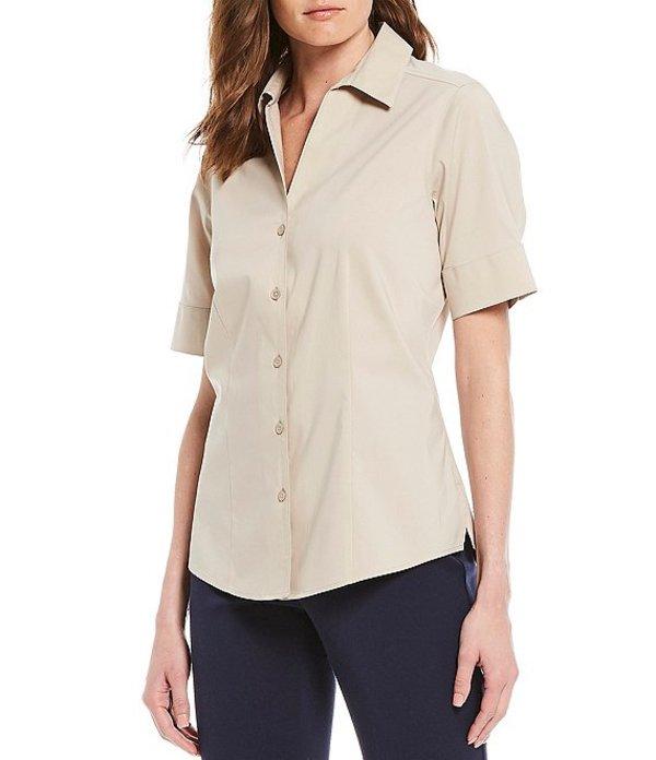 インベストメンツ レディース シャツ トップス Petites Size Lauren Gold Label Non-Iron Stretch Button Front Cotton Blend Machine Washable Shirt Sand