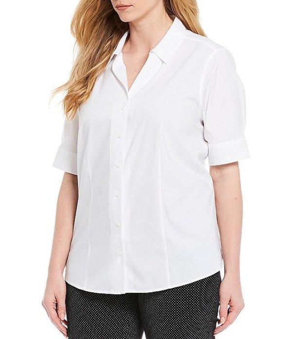 インベストメンツ レディース シャツ トップス Plus Size Lauren Gold Label Non-Iron Machine Washable Stretch Short Sleeve Cotton Blend Button Front Shirt White