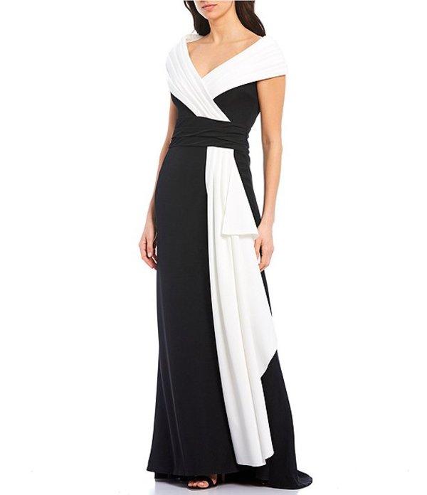 タダシショージ レディース ワンピース トップス Petite Size Portrait Collar Cap Sleeve Color Blocked Crepe Gown Black/Ivory