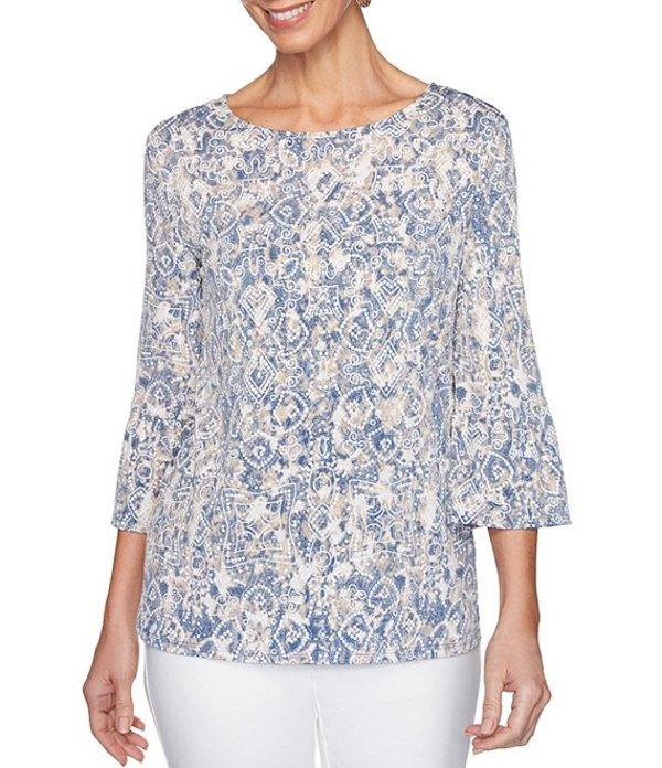ルビーアールディー レディース Tシャツ トップス Plus Size Knit Arabesque Ombre Puff Print 3/4 Flounce Sleeve Top Lagoon Multi