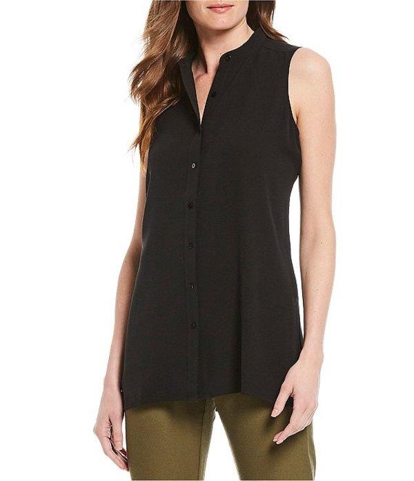 エイリーンフィッシャー レディース シャツ トップス Petite Size Silk Georgette Crepe Mandarin Collar Sleeveless Shirt Black