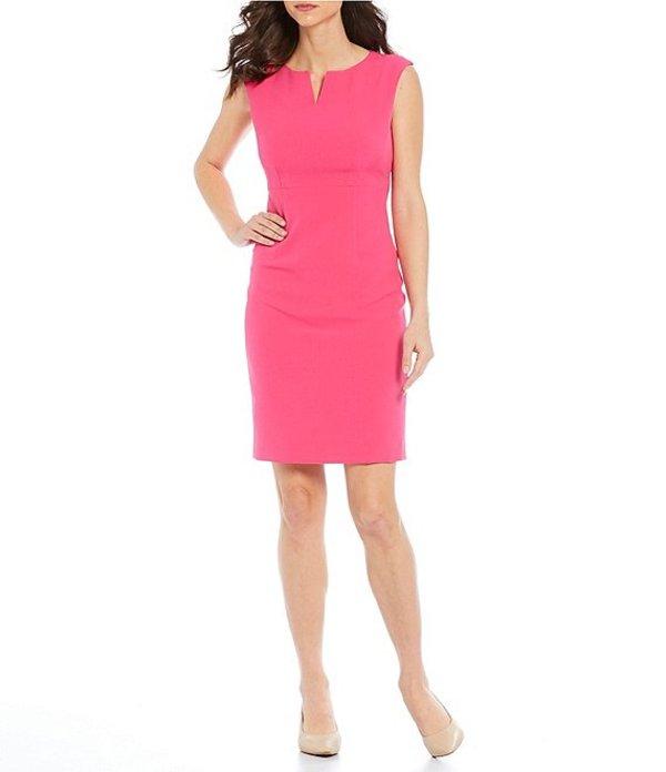 カスパール レディース ワンピース トップス Petite Size Sleeveless Stretch Crepe Sheath Dress Pink Perfection