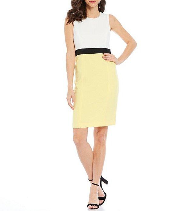 カスパール レディース ワンピース トップス Petite Size Sleeveless Stretch Crepe Combo Colorblock Waist Sheath Dress Sunburst Multi