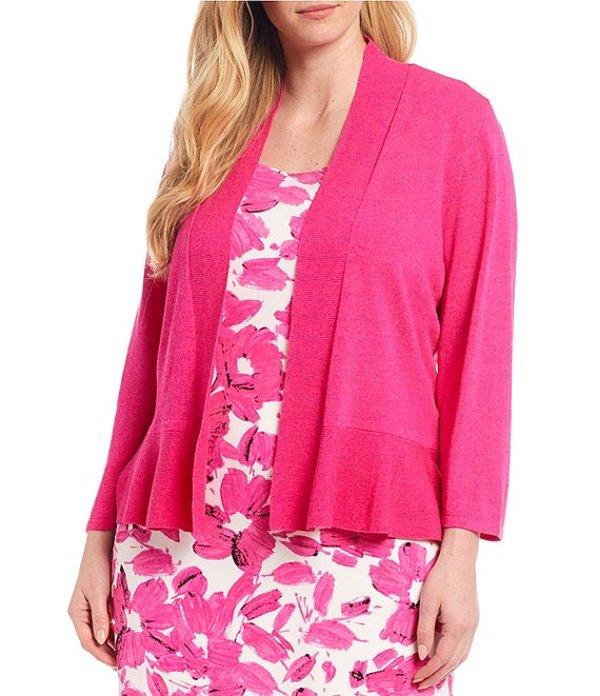 カスパール レディース ジャケット・ブルゾン アウター Plus Size 3/4 Sleeve Ruffle Hem Shrug Cardigan Pink Perfection