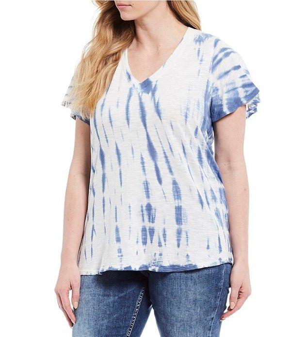 ジェシカシンプソン レディース Tシャツ トップス Plus Size Carly Tie Dye Flutter Sleeve V-Neck Top Skipper Blue