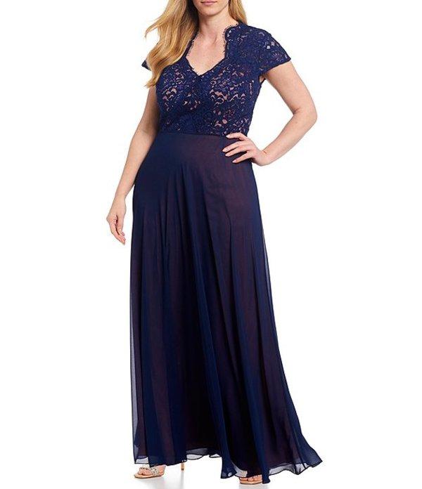 ジェイエスコレクションズ レディース ワンピース トップス Plus Size Illusion Lace Bodice Short Sleeve Chiffon Gown Navy/Rose