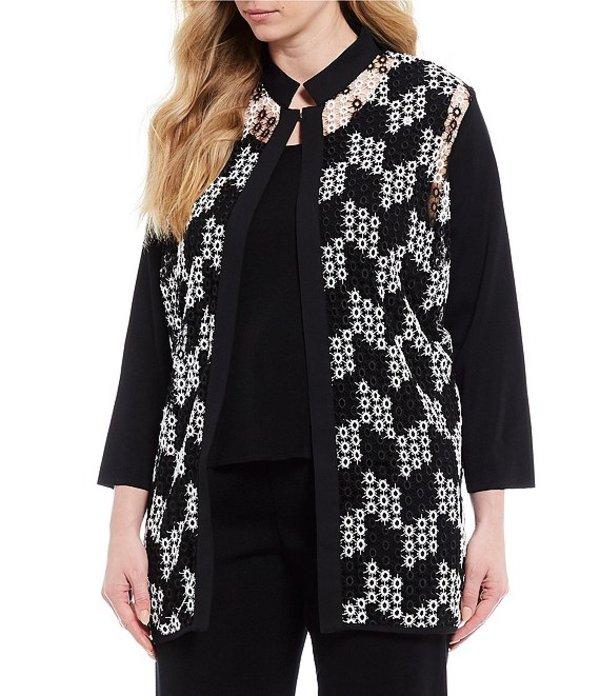 ミンウォン レディース ジャケット・ブルゾン アウター Plus Size Bracelet Sleeve Contrast Lace Jacket Black/White