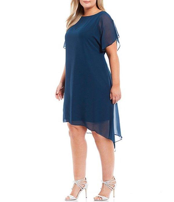 アドリアナ パペル レディース ワンピース トップス Plus Size Chiffon Overlay Jersey Dress Midnight Jungle