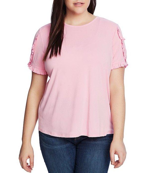 セセ レディース Tシャツ トップス Plus Size Short Sleeve Ruffled Knit Top Pink Begonia