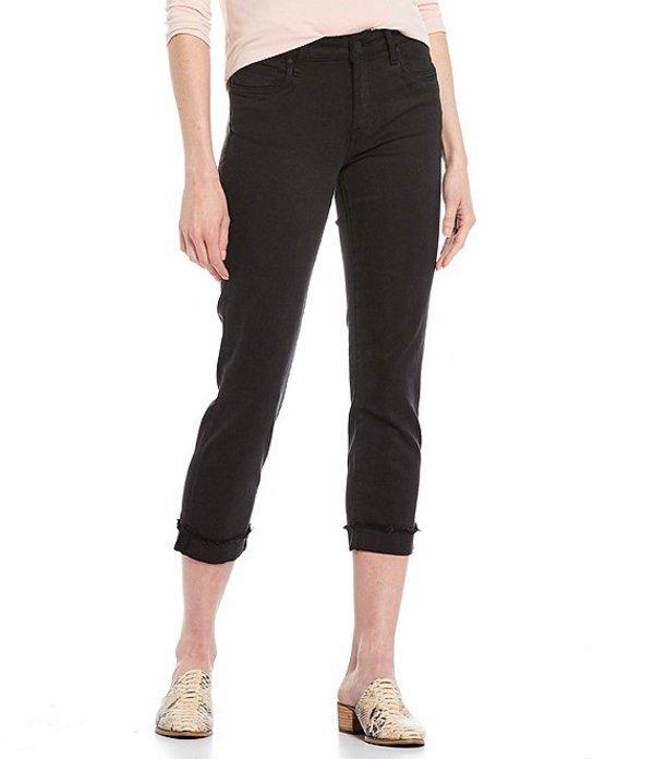 カットフロムザクロス レディース デニムパンツ ボトムス Amy Straight Leg Fray Hem Roll-Up Crop Jeans Black