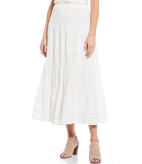 レバ レディース スカート ボトムス Embroidered Tiered Pull-On Cotton Midi Skirt Ivory