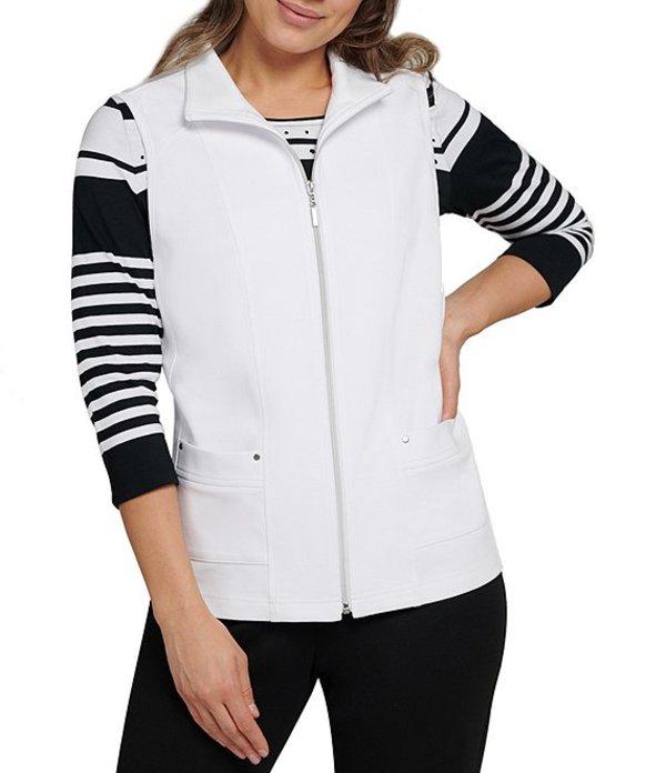 アリソン デイリー レディース ベスト アウター San Remo Knit Zipper Front Cotton Blend Vest White