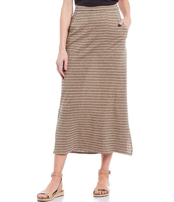 プラーナ レディース スカート ボトムス Tulum Midi Stripe Hemp & Organic Cotton Skirt Dark Khaki