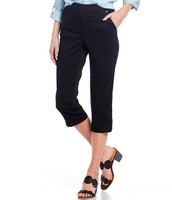 イントロ レディース カジュアルパンツ ボトムス Petite Size Rose Pull-On Capri Pant Ebony Black