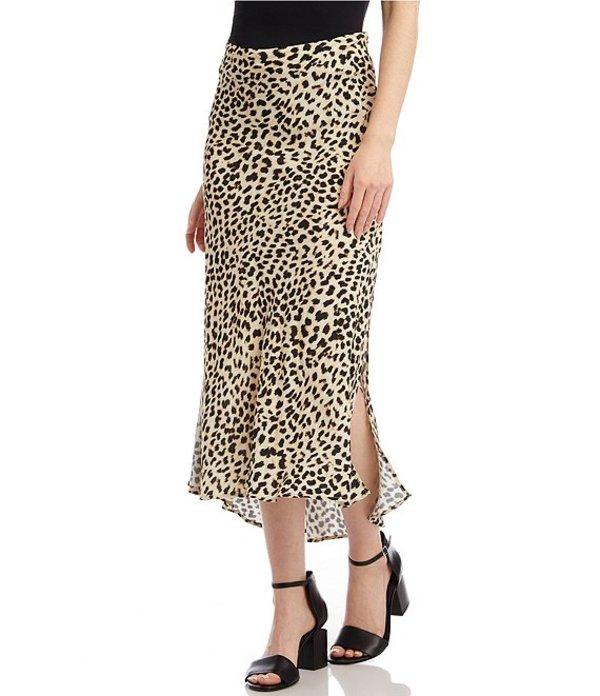 カレンケーン レディース スカート ボトムス Cheetah Print Side Slit Lightweight Crepe Midi Skirt Cheetah
