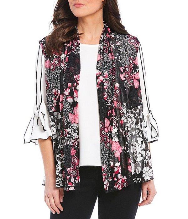 マルチプルズ レディース ベスト アウター Petite Size Floral Medallion Print Shawl Collar Hi-Low Open Front Embroidered Vest Multi