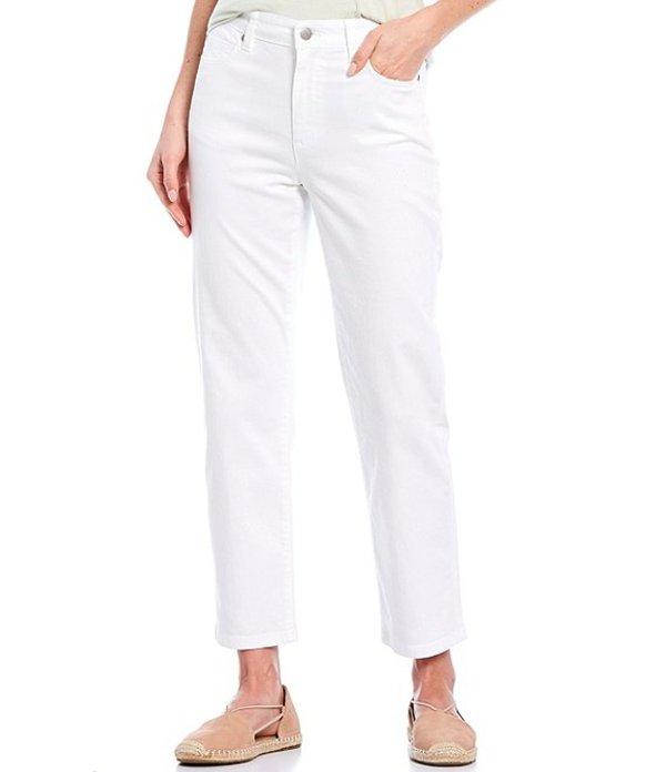 エイリーンフィッシャー レディース デニムパンツ ボトムス Garment Dyed Organic Cotton 5-Pocket Style High Waist Straight Ankle Stretch Denim Jeans White