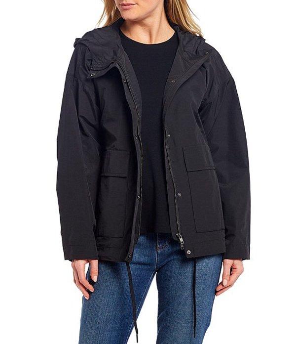 エイリーンフィッシャー レディース ジャケット・ブルゾン アウター Light Organic Cotton Nylon Hooded Water Resistant Coat Black