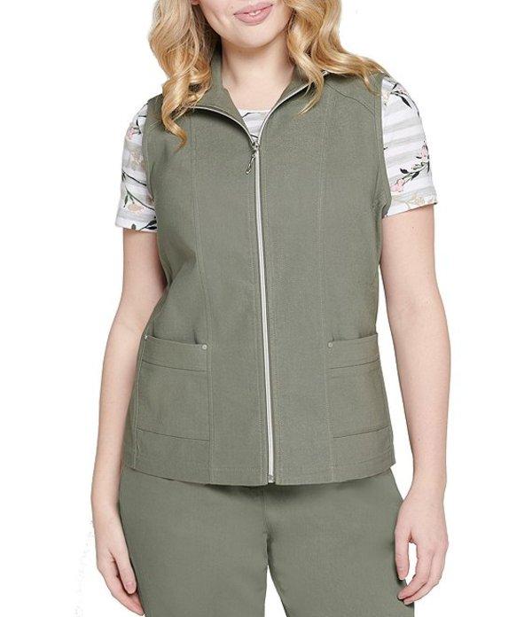 アリソン デイリー レディース ベスト アウター Stretch Twill Exposed Zipper Front Cotton Blend Vest Sage