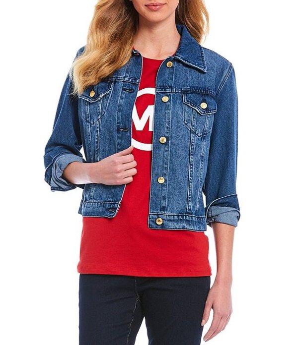 マイケルコース レディース ジャケット・ブルゾン アウター MICHAEL Michael Kors Basic Button Front Denim Jacket Rivera Blue Wash