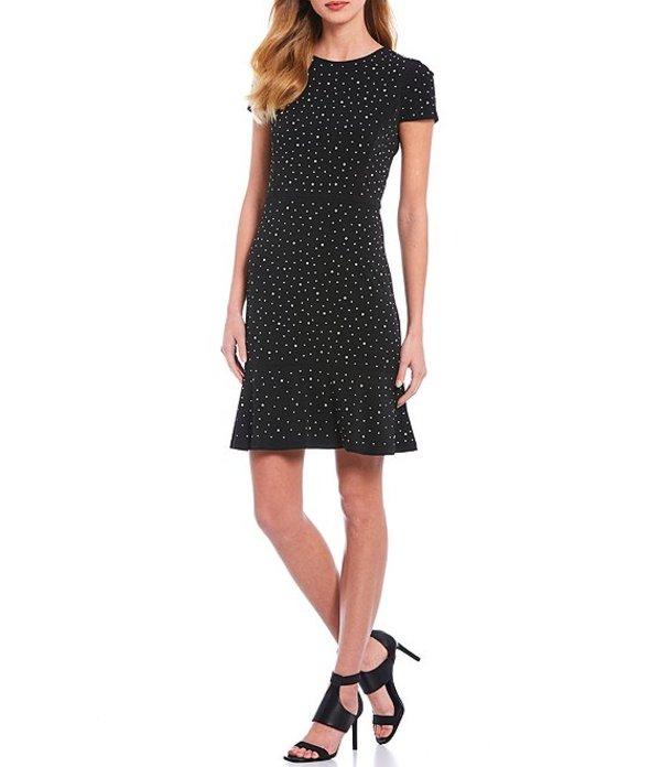 マイケルコース レディース ワンピース トップス MICHAEL Michael Kors Dotted Print Lux Matte Jersey Stud Embellished Short Sleeve Flounce Hem Dress Black