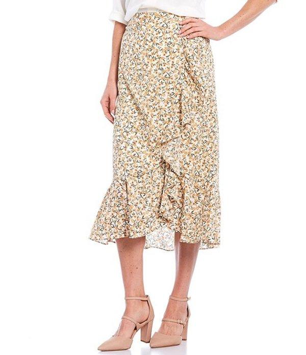 カルバンクライン レディース スカート ボトムス Ditsy Floral Print Ruffle Trim Belted Midi Crepe Skirt Papaya Multi