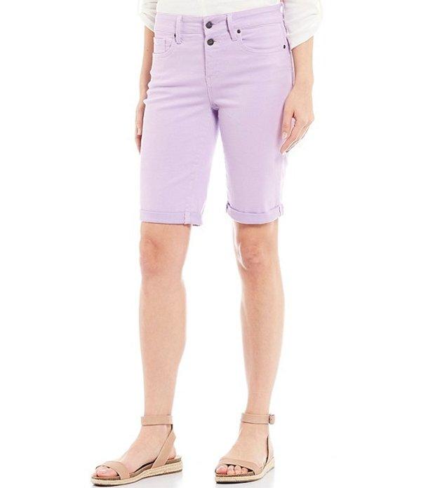 エヌワイディージェイ レディース ハーフパンツ・ショーツ ボトムス Mock Fly Roll-Cuff Bermuda Shorts Lilac Breeze
