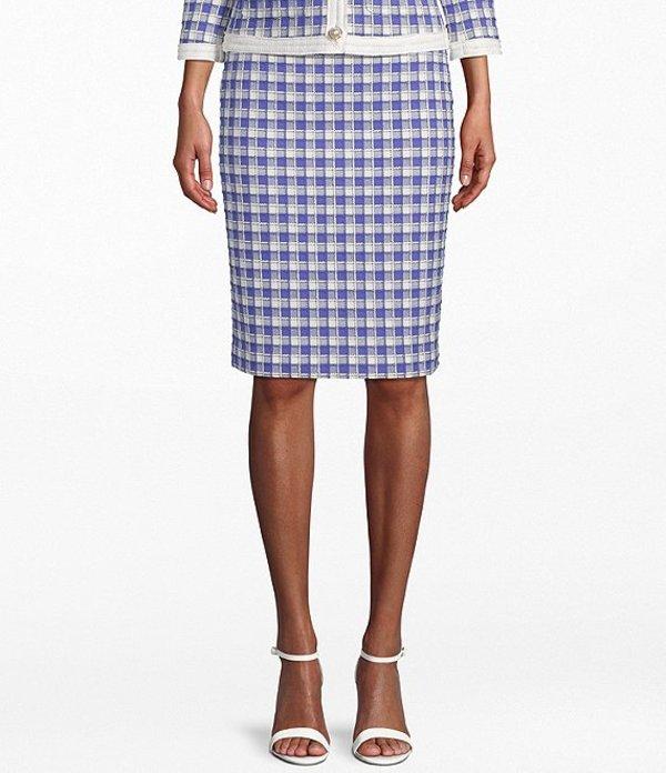 アンクライン レディース スカート ボトムス Grid Tweed Cotton Blend Pencil Skirt Rainshadow Combo