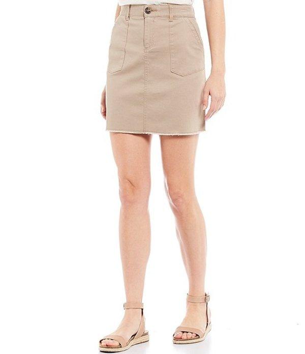デモクラシー レディース スカート ボトムス Absolution Stretch Denim Frayed Hem A-Line Skirt Walnut