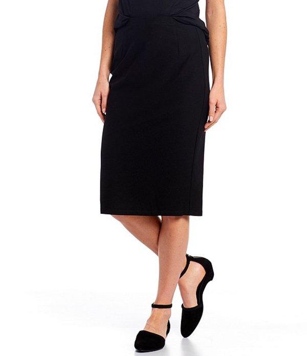 エイリーンフィッシャー レディース スカート ボトムス Petite Size Washable Stretch Crepe High Waisted Knee Length Pencil Skirt Black