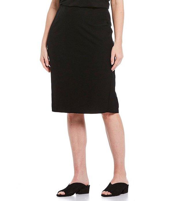 エイリーンフィッシャー レディース スカート ボトムス Plus Size Washable Stretch Crepe High Waist Knee Length Pencil Skirt Black