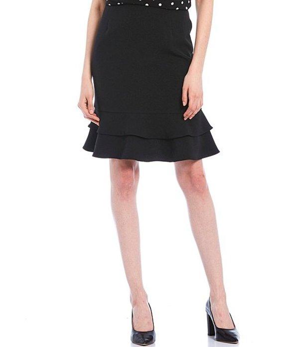 カスパール レディース スカート ボトムス Stretch Crepe Tiered Ruffle Skirt Black