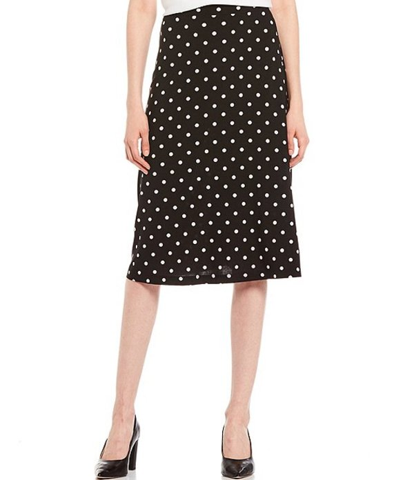 カスパール レディース スカート ボトムス Polka Dot Printed Knit Flared Midi Skirt Black Multi