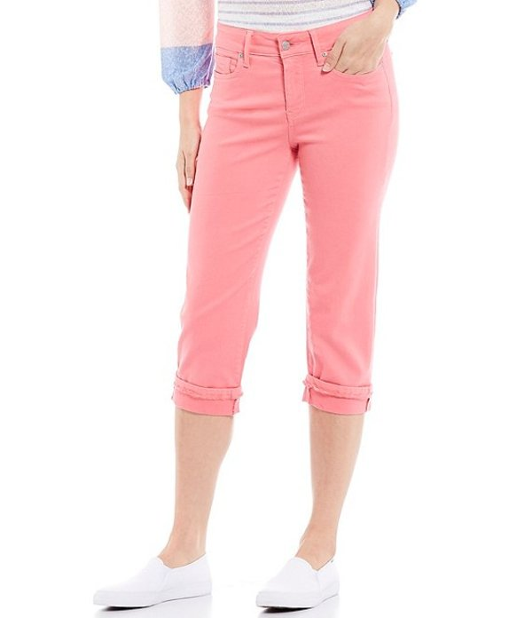 エヌワイディージェイ レディース デニムパンツ ボトムス Marilyn Straight Leg Frayed Cuffs Crop Jeans Coral Pink Flamingo