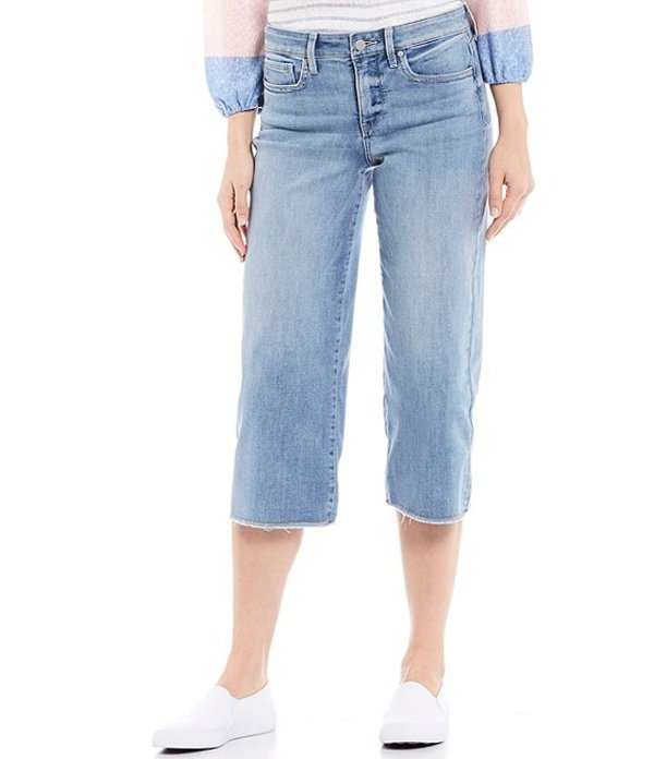 エヌワイディージェイ レディース デニムパンツ ボトムス Stretch Denim Wide-Leg Frayed Hem Capri Jeans Coheed