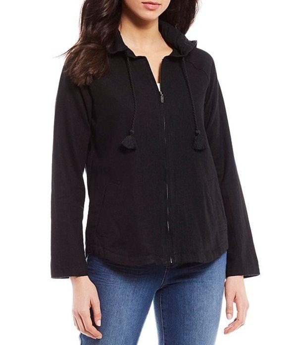 ウエストバウンド レディース ジャケット・ブルゾン アウター Hooded Long Sleeve Zip Front Linen Jacket Black
