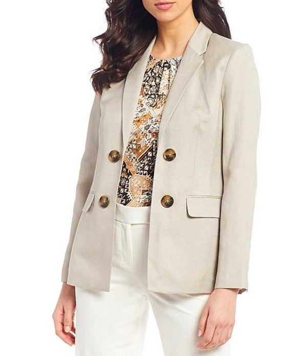 カルバンクライン レディース ジャケット・ブルゾン アウター Linen Blend Notch Collar Button Trim Open Front Jacket Khaki