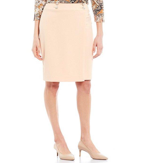 カルバンクライン レディース スカート ボトムス Solid Jacquard Pearl Button Trim Faux Wrap Skirt Papaya